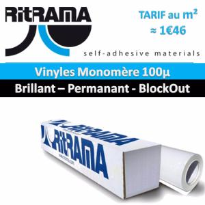 Vinyle Blanc 100µ Brillant Permanent Blockout 160 cm x 50 ml