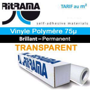 Polymère RI-JET 75µ Plastification transparent Brillant 160cm x 1 ML (Prix M²)